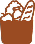 brown clipart icon of a bag of groceries