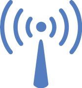 blue clipart icon of a cell signal tower